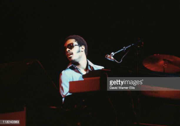 Stevie Wonder US singersongwriter during a live concert performance at the Rainbow Theatre in Finsbury Park London England Great Britain in February...