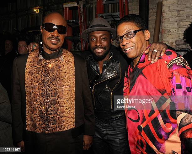 Stevie Wonder, will.i.am of Black Eyed Peas and Herbie Hancock backstage during STING: 25th Anniversary/60th Birthday Concert to Benefit Robin Hood...