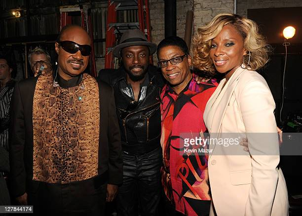 Stevie Wonder, will.i.am of Black Eyed Peas, Herbie Hancock and Mary J Blige backstage during STING: 25th Anniversary/60th Birthday Concert to...