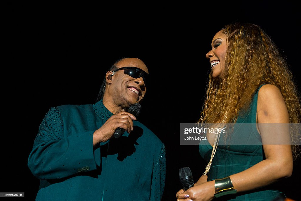 Stevie Wonder with his daughter Aisha Morris, as he speaks to the audience before his performance during his 'Songs in the Key of Life Tour' March 17, 2015 at Pepsi Center. This was the first stop of the tour.