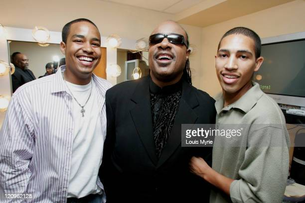 Stevie Wonder with sons Kwame and Chad during The United Negro College Fund Hosts An Evening of Stars Tribute to Quincy Jones Backstage in Hollywood...