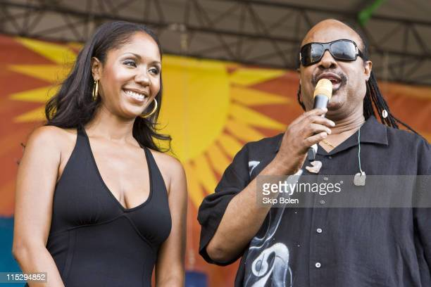 Stevie Wonder's daughter Aisha Morris and musician Stevie Wonder on the Acura Stage at the 39th Annual New Orleans Jazz Heritage Festival on May 2...