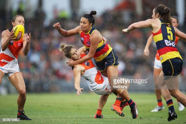 StevieLee Thompson of the Crows collides with Ellie Brush of the Giants during the round four AFLW match between the Greater Western Sydney Giants...