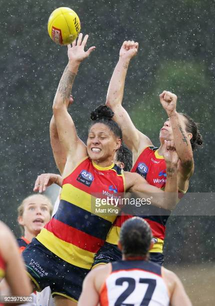 StevieLee Thompson of the Crows competes for the ball during the round four AFLW match between the Greater Western Sydney Giants and the Adelaide...
