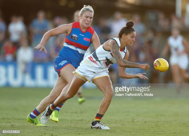 StevieLee Thompson of the Crows handpasses the ball during the 2017 AFLW Round 02 match between the Western Bulldogs and the Adelaide Crows at VU...