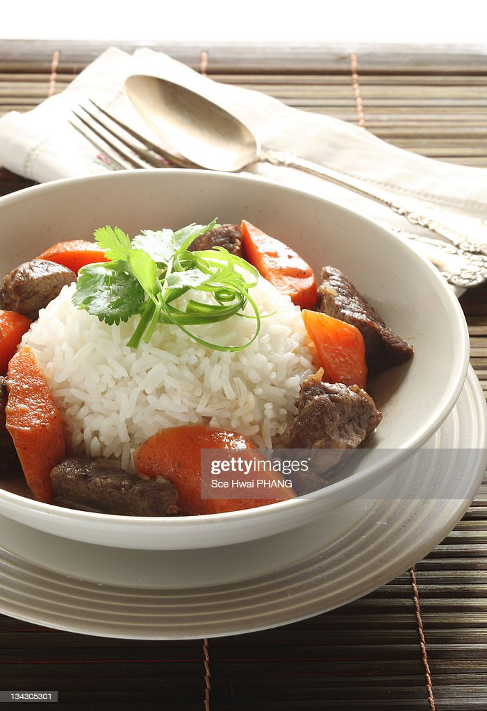 Stew beef and carrot rice : Stock Photo