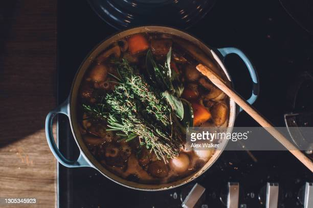 stew in blue cast iron pot on stove - domestic life stock pictures, royalty-free photos & images
