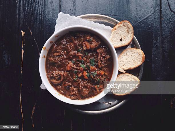 Stew With Bread On Table