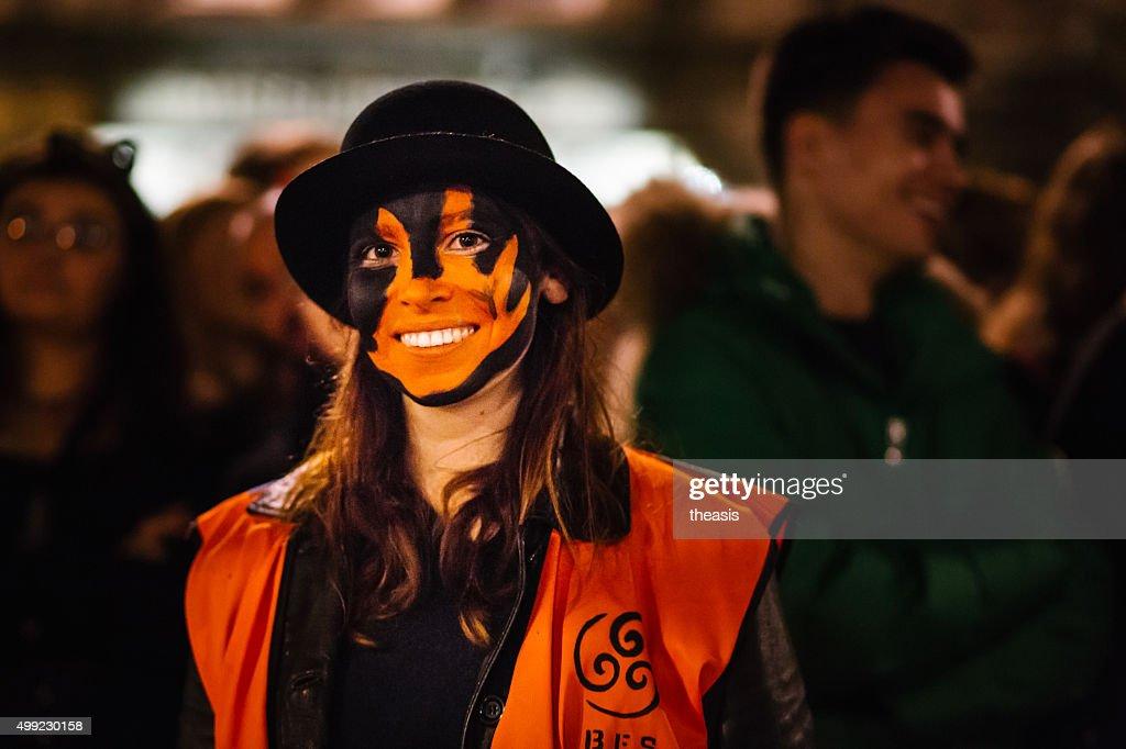 Steward at the Samhuinn Fire Festival, Edinburgh : Stock Photo
