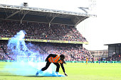 london england steward collects flare from