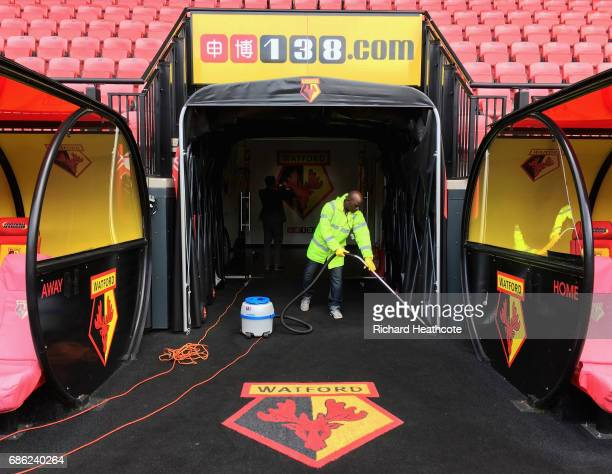 A steward hovers prior to the Premier League match between Watford and Manchester City at Vicarage Road on May 21 2017 in Watford England