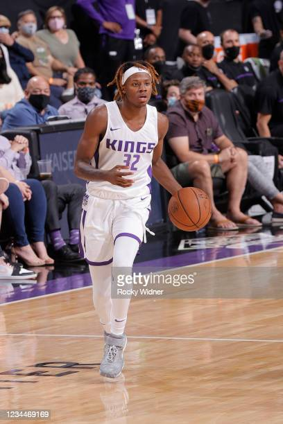 Steward of the Sacramento Kings dribbles the ball against the Los Angeles Lakers during the 2021 California Classic Summer League on August 4, 2021...