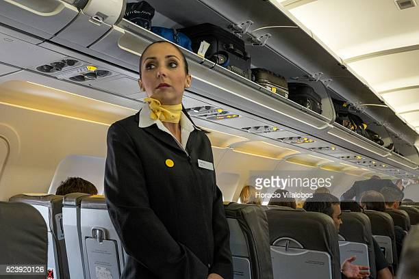 Stewardess in Vueling flight at Terminal 2 of the Frankfurt International Airport in Frankfurt Germany 02 September 2013 Frankfurt Airport is by far...