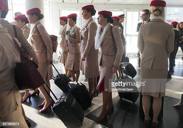 Stewardess of Emirates Airlines waiting for departure of a Airbus A 380 on the way to Myanmar via Dubai at Munich Airport on December 04 2016 in...