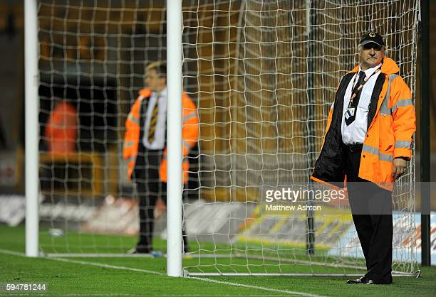 Stewards guard the goal at Molineux Stadium the home of Wolverhampton Wanderers