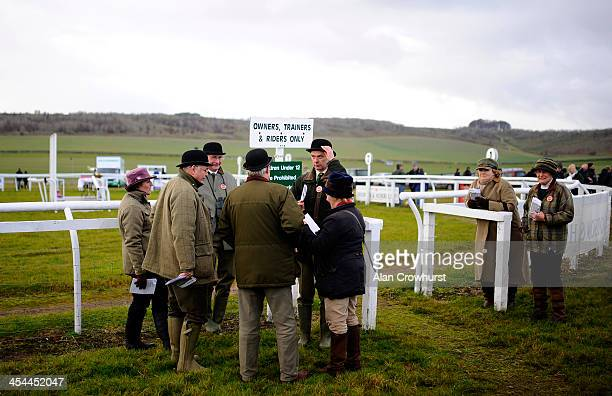 Stewards hold a meeting during the point to point meeting at Barbury Castle racecourse on December 08 2013 in Swindon England