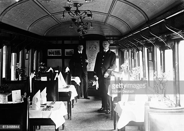 Stewards in the dining car of the Lusitania's boat train