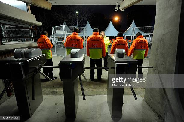 Stewards line up in front of the turnstiles in the Free State Stadium also known as Vodacom Park is a stadium in Bloemfontein South Africa A venue...