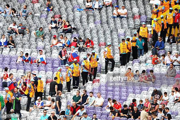 Stewards separate the area of Russian fans and Wales fans prior to the UEFA EURO 2016 Group B match between Russia and Wales at Stadium Municipal on...