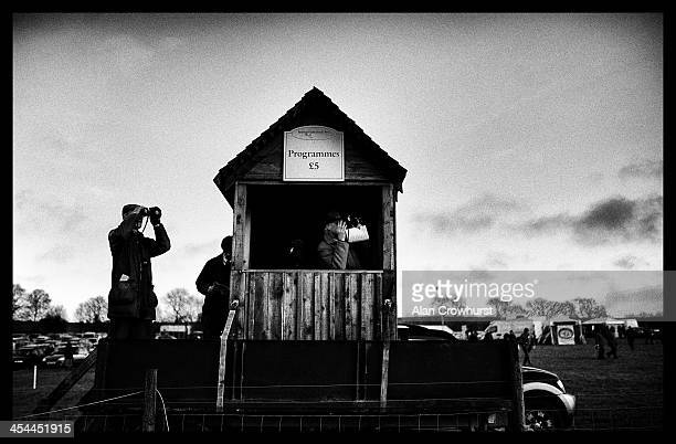 Stewards watch from their vantage point during the point to point meeting at Barbury Castle racecourse on December 08 2013 in Swindon England