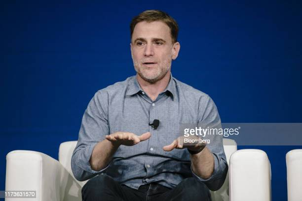 Stewart Butterfield, chief executive officer of Slack Technologies Inc., speaks during the BoxWorks 2019 Conference at the Moscone Center in San...