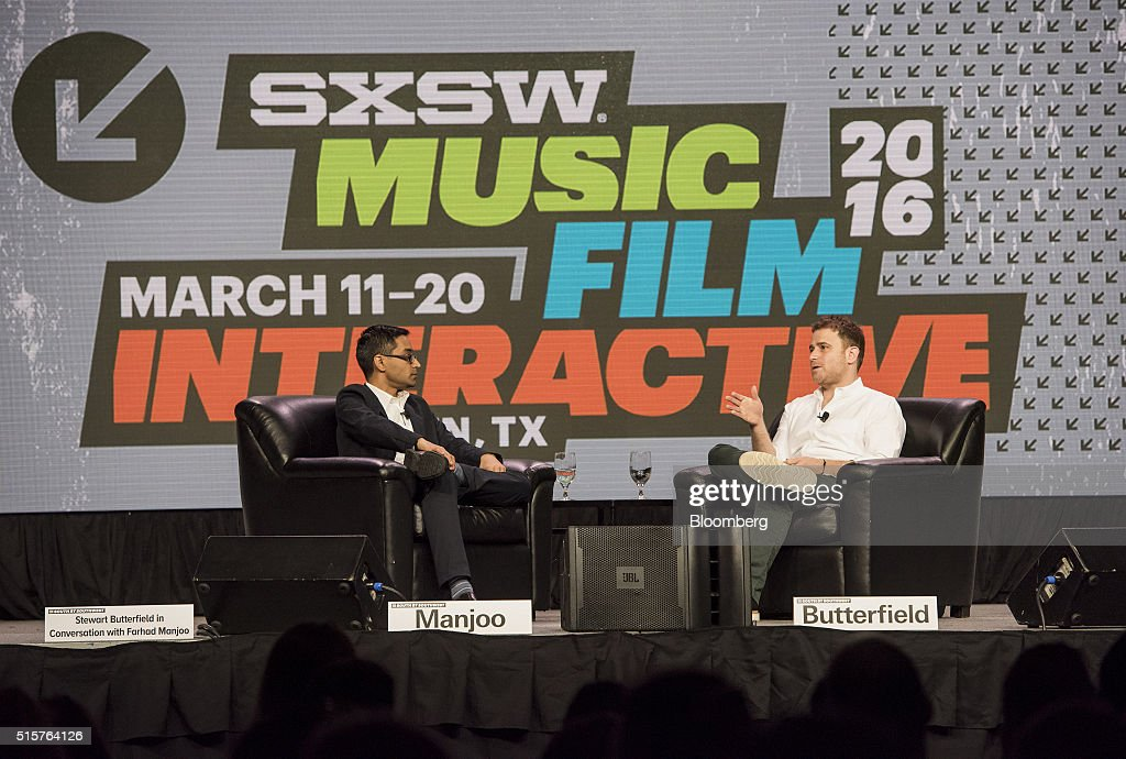Stewart Butterfield, co-founder and chief executive officer of Slack Technologies Inc., right, speaks during the South By Southwest (SXSW) Interactive Festival at the Austin Convention Center in Austin, Texas, U.S., on Tuesday, March 15, 2016. The SXSW Interactive Festival features presentations and panels from the brightest minds in emerging technology, scores of networking events hosted by industry leaders and a lineup of special programs showcasing new websites, video games, and startup ideas. Photographer: David Paul Morris/Bloomberg via Getty Images