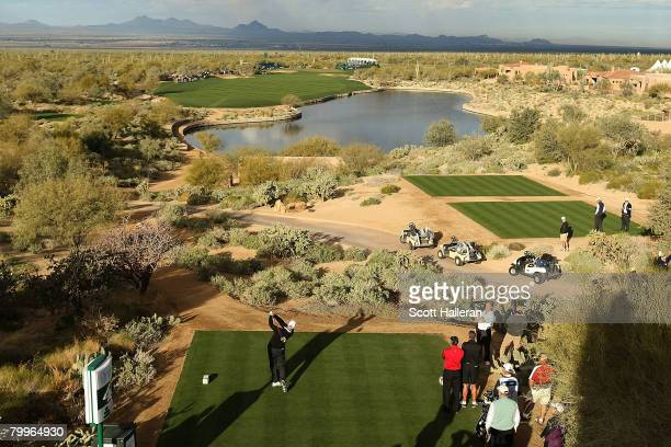 Stewart Cink hits his tee shot on the fourth hole during the Championship match of the WGC-Accenture Match Play Championship at The Gallery at Dove...