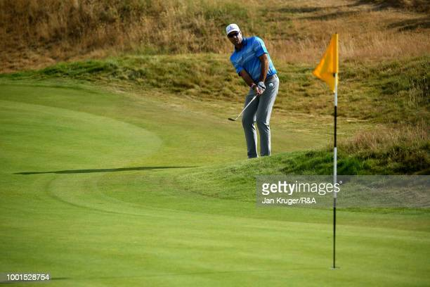 Stewart Cink of the United States on 2nd hole during round one of the 147th Open Championship at Carnoustie Golf Club on July 19 2018 in Carnoustie...