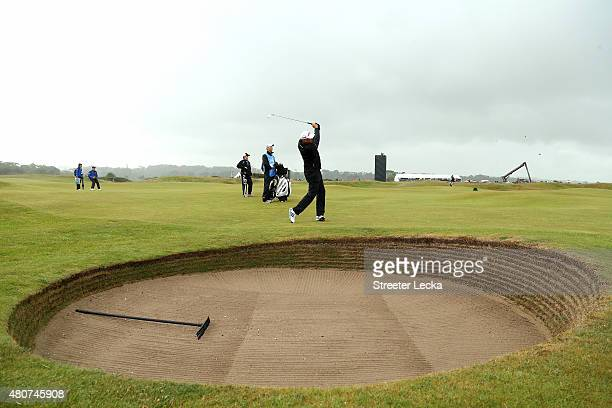 Stewart Cink of the United States plays a shot on the 5th hole during practice ahead of the 144th Open Championship at The Old Course on July 15,...