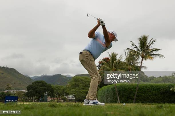 Stewart Cink of the United States plays his shot from the seventh tee during the final round of the Sony Open in Hawaii at the Waialae Country Club...