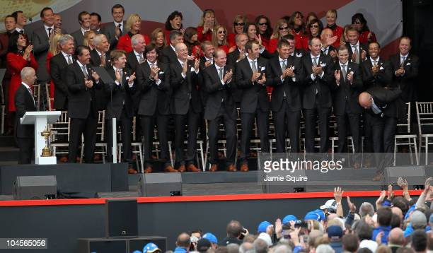 Stewart Cink of the USA reacts after Team Captain Corey Pavin forgets to announce him during the Opening Ceremony prior to the 2010 Ryder Cup at the...
