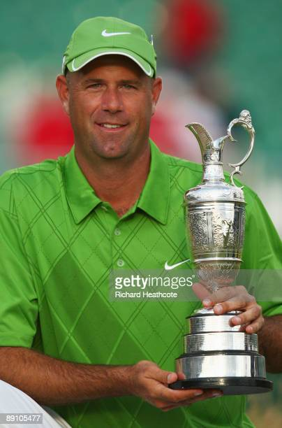 Stewart Cink of USA poses with the Claret Jug after his victory in a play off against Tom Watson of USA following the final round of the 138th Open...