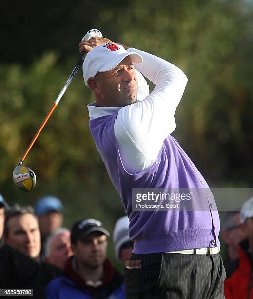 Stewart Cink on the seventeenth hole during the continuation of Friday's fourball matches at the 38th Ryder Cup at the Twenty Ten Course at Celtic...