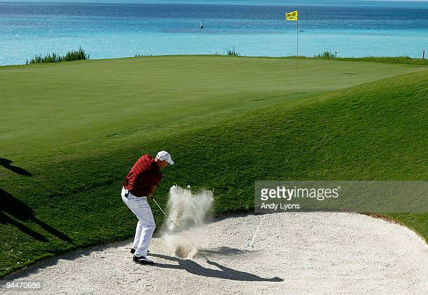 Stewart Cink plays from a bunker during the first round of the PGA Grand Slam of Golf on October 20 2009 Port Royal Golf Course in Southampton Bermuda