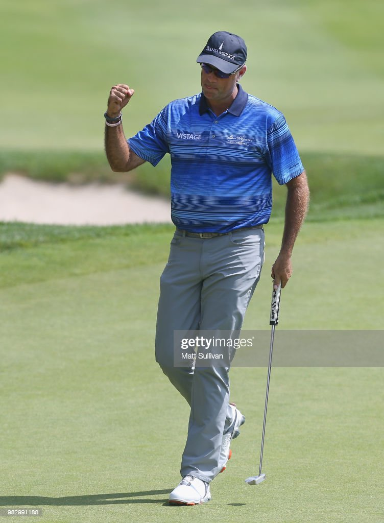 Stewart Cink reacts after making a birdie on the 18th hole during the final round of the Travelers Championship at TPC River Highlands on June 24, 2018 in Cromwell, Connecticut.