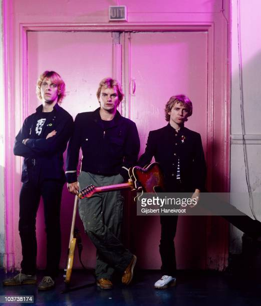 Stewart Copeland Sting and Andy Summers of the Police pose backstage for a group portrait at Paradiso on 22nd June 1979 in Amsterdam Netherlands