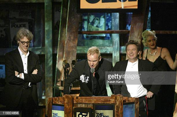 Stewart Copelane Sting and Andy Summers of The Police accept their induction into the Rock and Roll Hall of Fame from Gwen Stefani