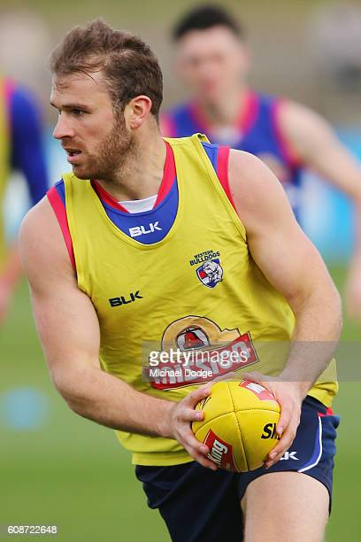 Stewart Crameri back after his suspension by ASADA looks upfield during a Western Bulldogs training session at Whitten Oval on September 20 2016 in...