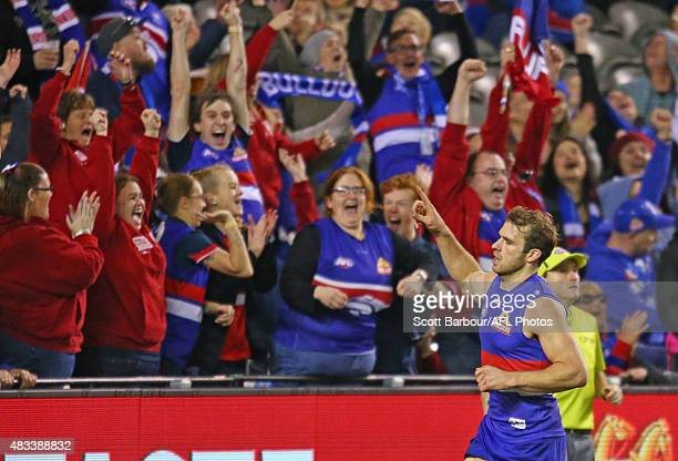 Stewart Crameri of the Western Bulldogs celebrates after kicking a goal during the round 19 AFL match between the Western Bulldogs and Port Adelaide...