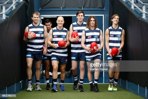 Stewart Crameri Tim Kelly Gary Ablett Charlie Constable Gryan Miers and Lachie Fogarty walk out to face the media during a Geelong Cats Media Session...