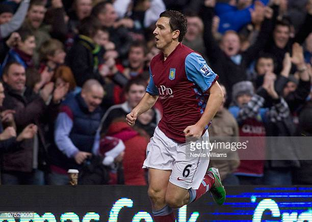 Stewart Downing of Aston Villa celebrates after scoring during the Barclays Premier League match between Aston Villa and West Bromwich Albion at...