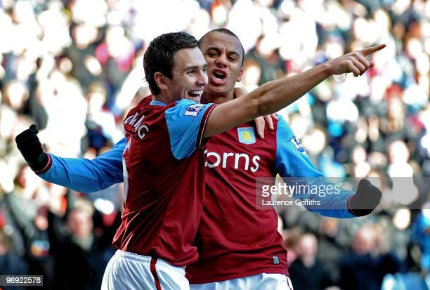 Stewart Downing of Aston Villa celebrates his goal with Gabriel Agbonlahor during the Barclays Premier League match between Aston Villa and Burnley...
