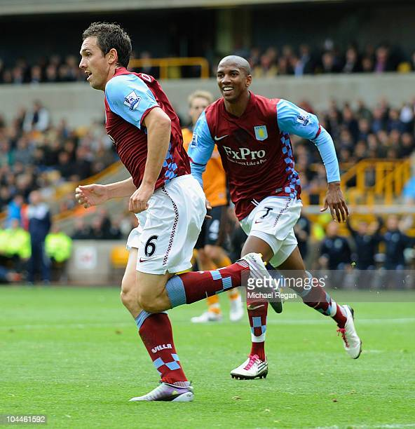 Stewart Downing of Aston Villa celebrates scoring to make it 10 with Ashley Young during the Barclays Premier League match between Wolverhampton...