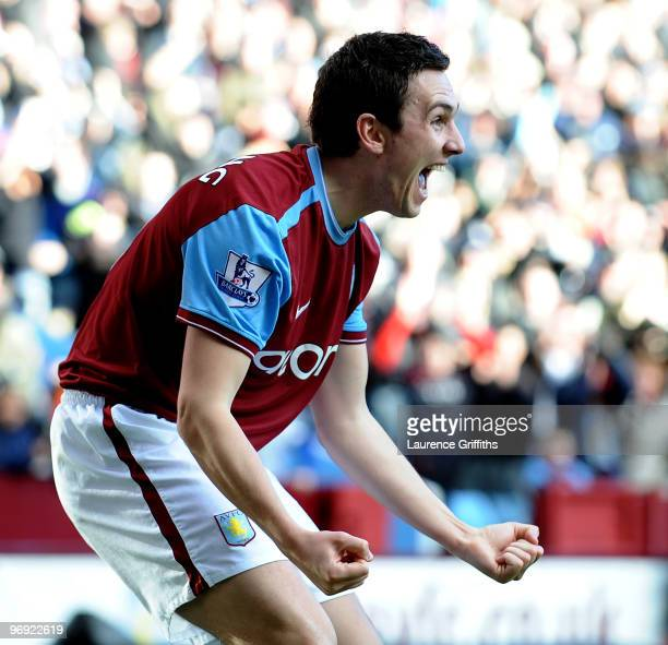 Stewart Downing of Aston Villa celebrates the second goal during the Barclays Premier League match between Aston Villa and Burnley at Villa Park on...