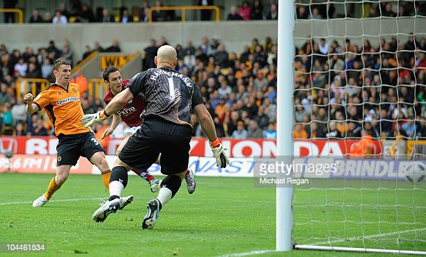 Stewart Downing of Aston Villa scores to make it 10 during the Barclays Premier League match between Wolverhampton Wanderers and Aston Villa at...