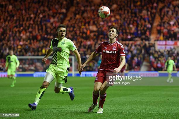 Stewart Downing of Boro in action with Tommy Smith of Huddersfield during the Sky Bet Championship match between Middlesbrough and Huddersfield Town...