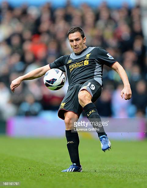 Stewart Downing of Liverpool in action during the Barclays Premier League match between Aston Villa and Liverpool at Villa Park on March 31 2013 in...