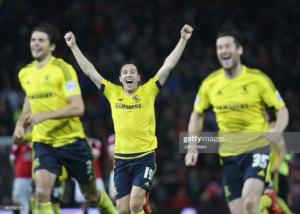 Stewart Downing of Middlesbrough celebrates after the Capital One Cup Fourth Round match between Manchester United and Middlesbrough at Old Trafford on October 28, 2015 in Manchester, England.