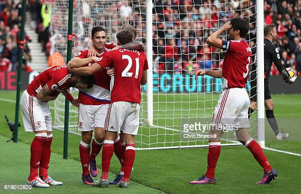 Stewart Downing of Middlesbrough celebrates scoring his sides second goal with his Middlesbrough team mates during the Premier League match between...
