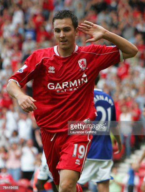 Stewart Downing of Middlesbrough celebrates scoring the second goal during the Barclays Premier League match between Middlesbrough and Birmingham...